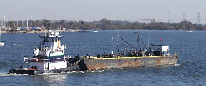 fuel barge and towboat